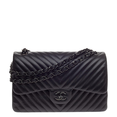2ed08352a06029 Buy Chanel So Black Classic Double Flap Bag Chevron Lambskin 497601 – Rebag