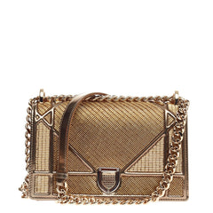 Christian Dior Diorama Flap Bag Beaded Leather Small