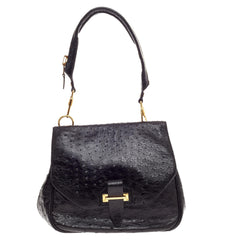 Tom Ford Buckle Shoulder Bag Ostrich Medium