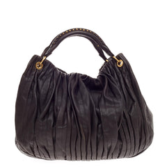 Miu Miu Bosco Convertible Hobo Pleated Leather Large