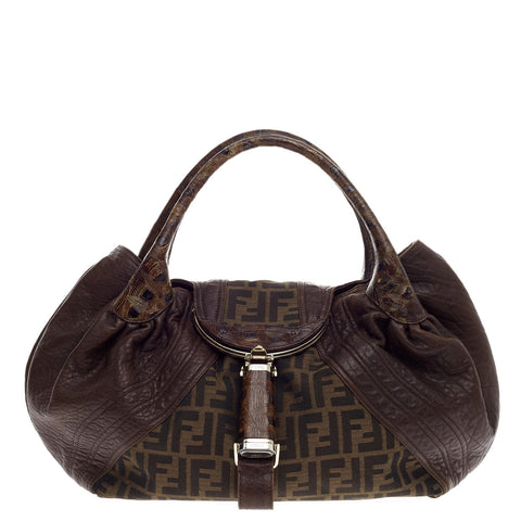 76e27a1567cc Buy Fendi Tortoise Spy Bag Zucca Canvas and Leather Brown 510902 – Rebag