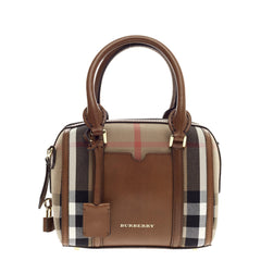 Burberry Alchester Convertible Satchel House Check and Leather Small