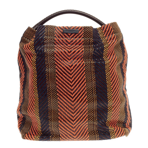 c4d9ca26862 Buy Burberry Vibrant Duffle Bag Woven Leather and Cotton 496203 – Rebag
