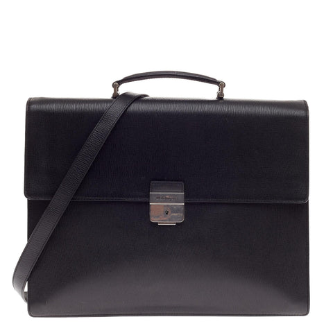 7941f0d192 Buy Salvatore Ferragamo Revival Briefcase Leather Black 506401 – Rebag