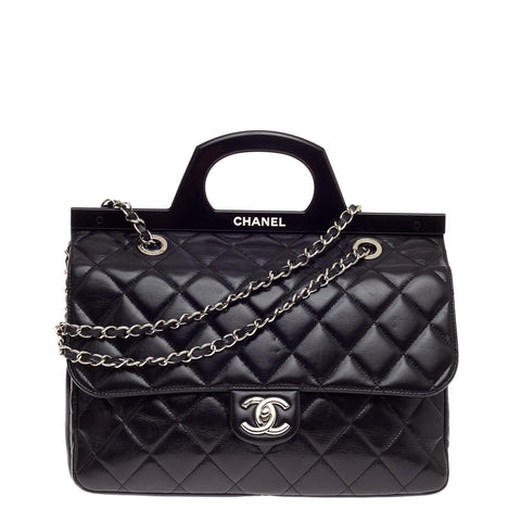 43dc499696bd76 Buy Chanel CC Delivery Tote Quilted Glazed Calfskin Small 520701 – Rebag