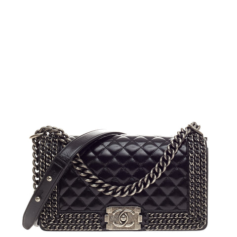 4969bb1044cc42 Buy Chanel Chain Boy Flap Bag Quilted Glazed Calfskin Old 519403 – Rebag