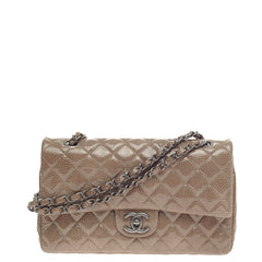 Chanel Classic Double Flap Quilted Crinkled Patent Medium