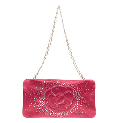 Chanel Camellia Diamante Convertible Clutch Satin Small