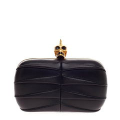 Alexander McQueen Skull Box Clutch Pleated Leather Small
