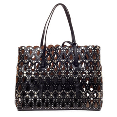 Alaia Studded Open Tote Laser Cut Leather Large
