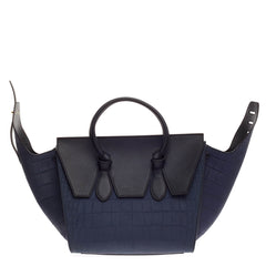 Celine Tie Tote Crocodile Embossed Nubuck Small