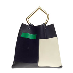 Celine Geometrical Tote Leather and Suede Large