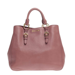 Miu Miu Madras Convertible Tote Leather Large
