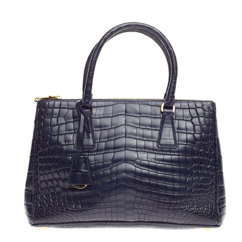 ca8da8b0fcdc Buy Prada Double Zip Tote Crocodile Small Blue 632011 – Rebag