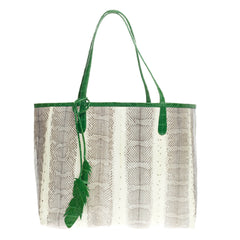Nancy Gonzalez Feather Tote Python East West