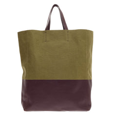 Celine Vertical Bi-Cabas Tote Canvas and Leather