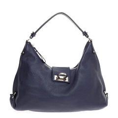 Salvatore Ferragamo New Fanisa Hobo Pebbled Leather Large