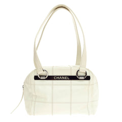 Chanel Square Stitch Bowler Quilted Caviar Small