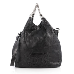 Chanel Rodeo Drive Hobo Perforated Leather Large Black