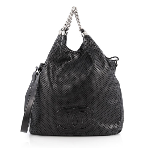 ff5a6c741781 Buy Chanel Rodeo Drive Hobo Perforated Leather Large Black 1866901 – Rebag