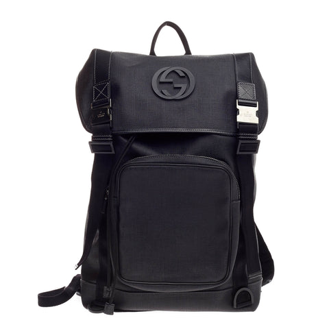 407509d95f993a Buy Gucci Interlocking G Backpack Coated Canvas Large Black 828501 – Rebag
