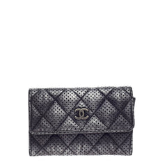 Chanel CC Card Holder Quilted Perforated Leather