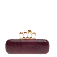 Alexander McQueen Knuckle Box Clutch Snakeskin Long