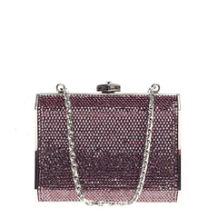 Judith Leiber Chain Minaudiere Box Clutch Crystal Small