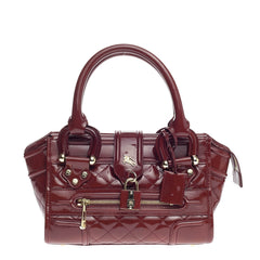 Burberry Manor Bag Quilted Patent Mini