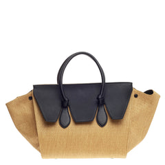 Celine Tie Tote Raffia and Leather Small