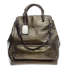 Dolce & Gabbana Miss Pocket Fold Over Bag Crocodile Embossed Patent Large