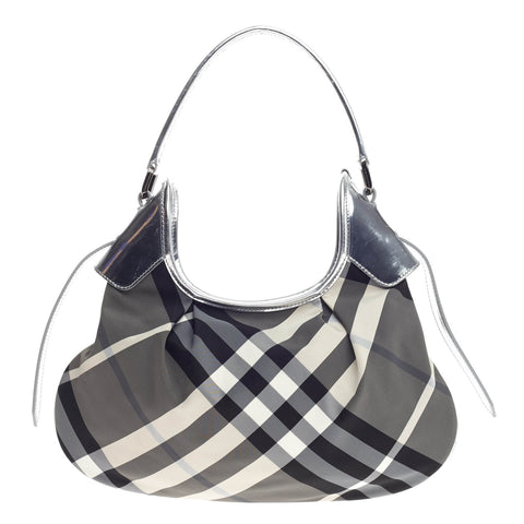 3893f81316d1 Buy Burberry Brooklyn Handbag Beat Check Nylon Small Gray 820903 – Rebag