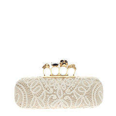 Alexander McQueen Knuckle Box Clutch Lace Over Leather Long