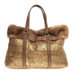 Prada Shopping Tote Leather and Fur Large