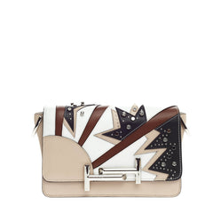 Tod's Double T Crossbody Embellished Patchwork Leather Mini