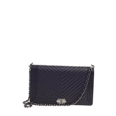 Chanel Boy Wallet on Chain Clutch Chevron Calfskin