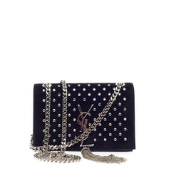 Saint Laurent Classic Monogram Tassel Crossbody Studded Suede Small