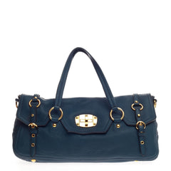 Miu Miu East West Turnlock Convertible Satchel Cervo Leather Large
