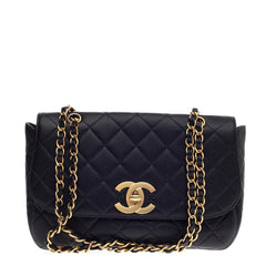 Chanel Vintage CC Chain Flap Bag Quilted Caviar Medium