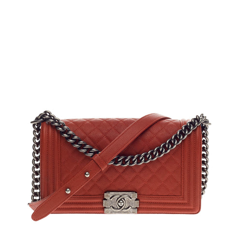 c3bd1518d908 Buy Chanel Boy Flap Bag Quilted Caviar Old Medium Red 998001 – Rebag