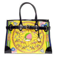 Ralph Lauren Collection Spectator Tote Printed Silk And Patent Large