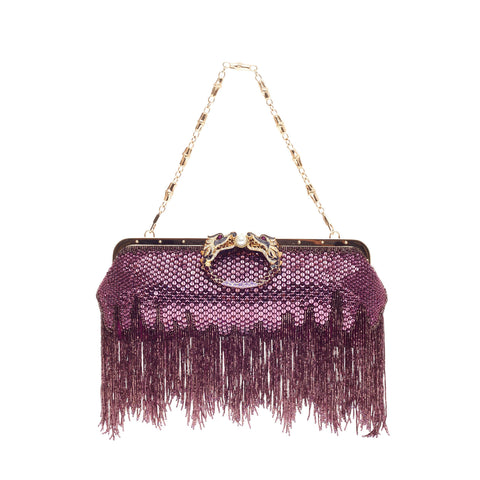 ee41ac62a1af Buy Gucci Beaded Fringe Evening Bag Crystal with Dragon Head 111529 – Rebag