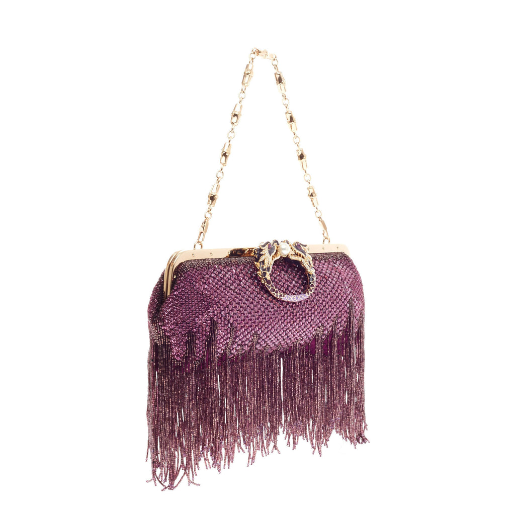 c4e733e60034 Buy Gucci Beaded Fringe Evening Bag Crystal with Dragon Head 111529 ...