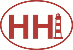 Hilton Head Light (RED) decal from Oval Envy.  Great price for a durable vinyl decal.  We've got animals, beaches, dogs, cats and more!  Search our catalog for your next Euro Oval Decal.