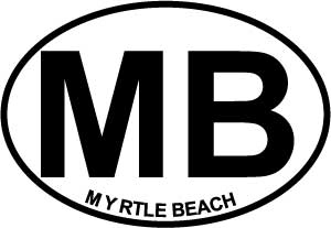 Myrtle Beach (MB) decal from Oval Envy.  Great price for a durable vinyl decal.  We've got animals, beaches, dogs, cats and more!  Search our catalog for your next Euro Oval Decal.