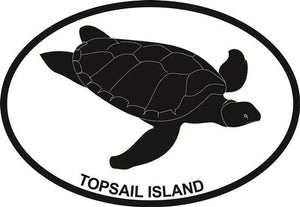 Turtle (Topsail Island) decal from Oval Envy.  Great price for a durable vinyl decal.  We've got animals, beaches, dogs, cats and more!  Search our catalog for your next Euro Oval Decal.