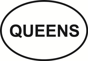 Queens decal from Oval Envy.  Great price for a durable vinyl decal.  We've got animals, beaches, dogs, cats and more!  Search our catalog for your next Euro Oval Decal.