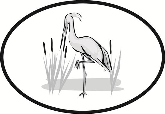 Heron decal from Oval Envy.  Great price for a durable vinyl decal.  We've got animals, beaches, dogs, cats and more!  Search our catalog for your next Euro Oval Decal.