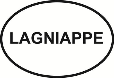 Lagniappe decal from Oval Envy.  Great price for a durable vinyl decal.  We've got animals, beaches, dogs, cats and more!  Search our catalog for your next Euro Oval Decal.