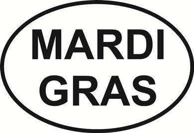 Mardi Gras decal from Oval Envy.  Great price for a durable vinyl decal.  We've got animals, beaches, dogs, cats and more!  Search our catalog for your next Euro Oval Decal.